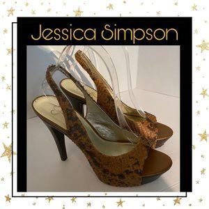 "Jessica Simpson ""Astor"" Leather Snake Heels 9"